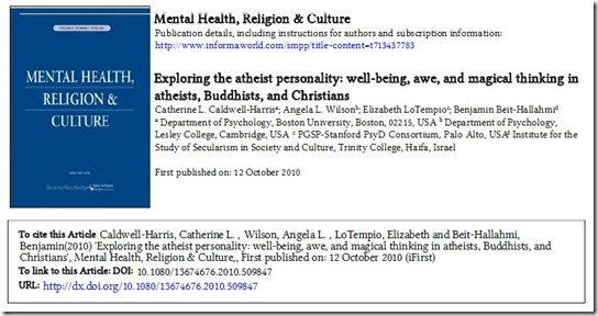 Mental Health, Religion & Culture